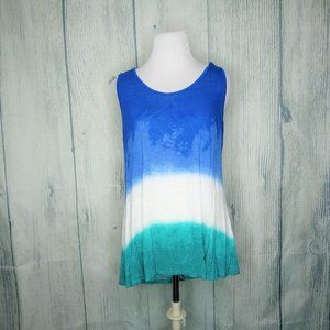 Maurices Ombre Tank Top, Blue Green White, Large